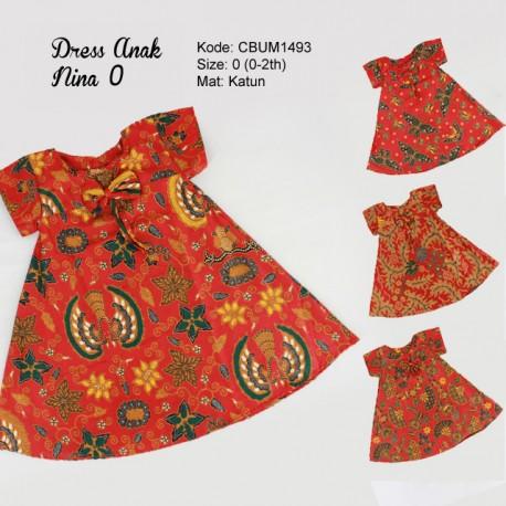 Dress Anak Nina Motif Santoso Merah Size 0