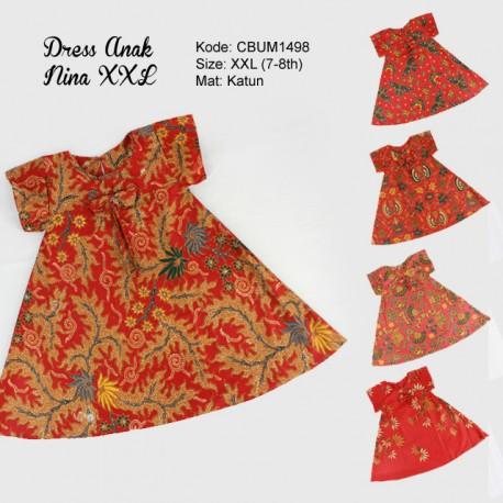 Dress Anak Nina Motif Santoso Merah Size XXL