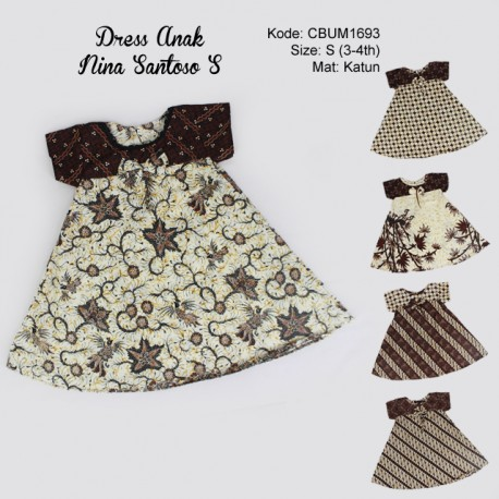 Dress Anak Nina Motif Santoso Sogan Size S