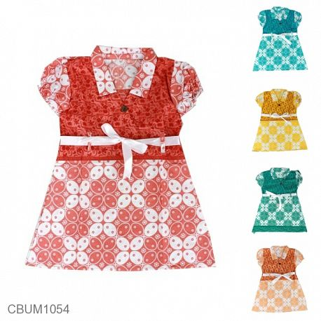 Dress Anak Pias Katun Motif Kawung Size S