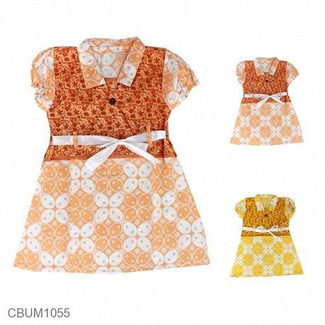 Dress Anak Pias Katun Motif Kawung Size M