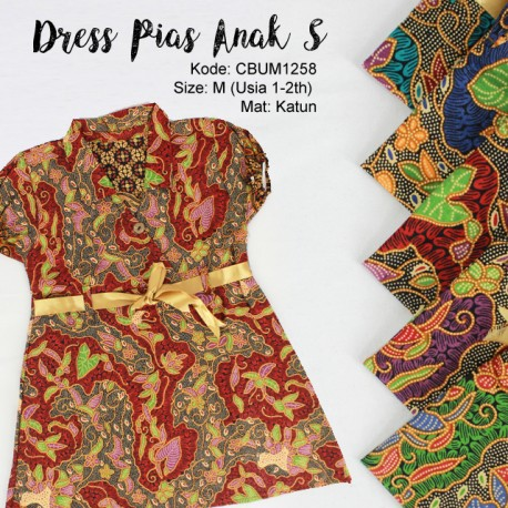 Dress Anak Pias Motif Kembang Lepen Size S