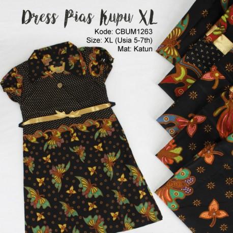 Dress Anak Pias Katun Motif Kupu Size XL