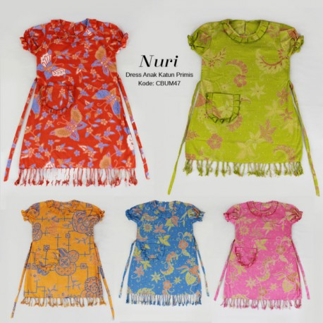 Dress Batik Anak Katun Primis Kepang Nuri