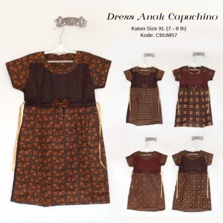 Dress Batik Anak Pita Cappucino Size XL