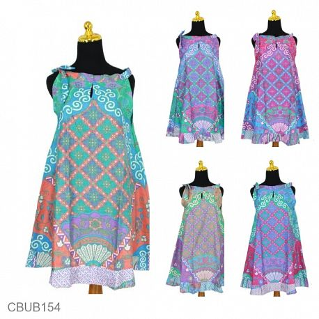 Dress Batik Cantik Tali Motif Kipas