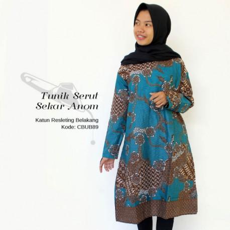 Dress Tunik Batik Katun Motif Sekar Anom Tosca