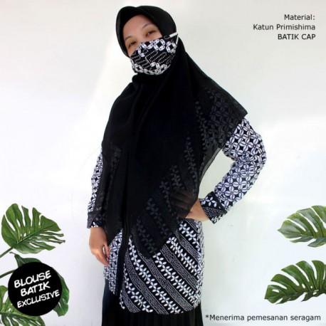 (Free Masker) Blouse Batik Ayodia Saku Resleting Depan
