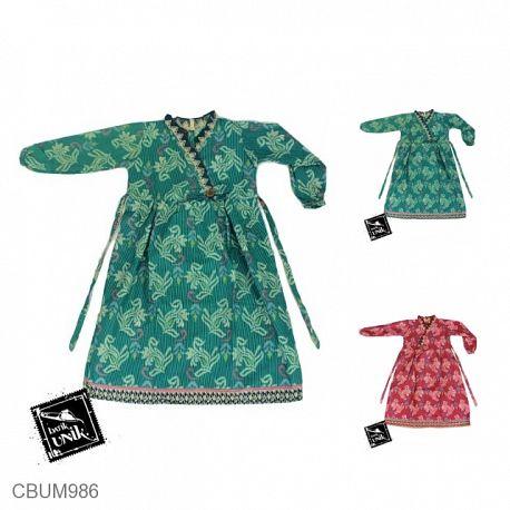 Gamis Batik Anak Katun Motif Salur Bunga Tumpal No 2
