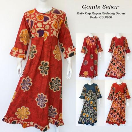 Gamis Batik Cap Rayon Remple Sekar