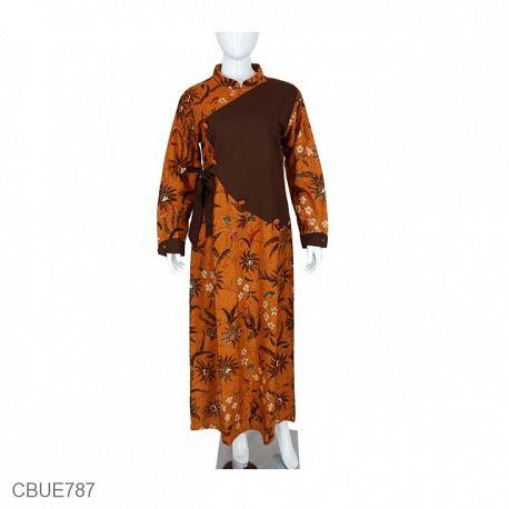 Gamis Batik Kembang Dara Nitik Coklat