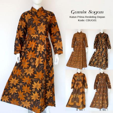 Gamis Batik Klasik Resleting Depan Motif Sogan Daun