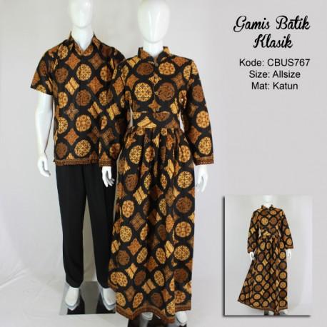 Gamis Batik Sarimbit Kemeja Motif Klasik