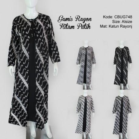 Gamis Batik  Cardigan Hitam Putih Seno Rayon