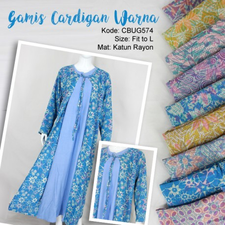 Gamis Cardigan Rayon Warna