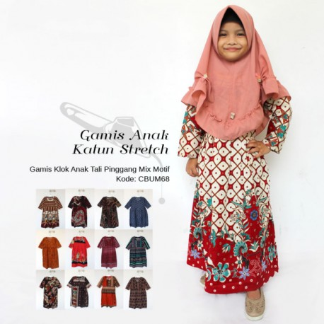 Gamis Klok Anak Katun Stretch (4-6 th)