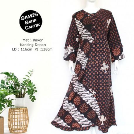 Gamis rayon terbaru kombinasi motif batik cap klasik