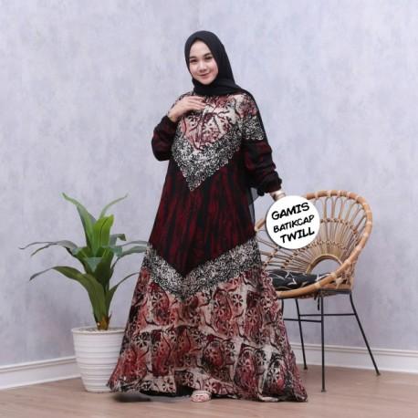 Gamis Twill Malaman Batik Cantik Sogan