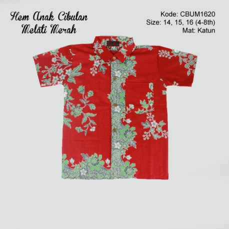 Hem Batik Anak Katun Cibulan Melati Merah