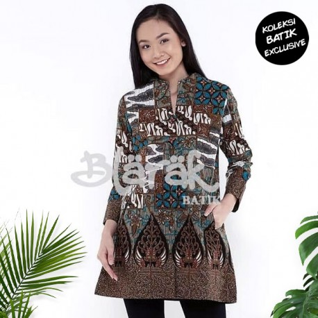 Tunik Batik Blarak Motif Tambal Sewu Tosca