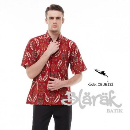 Hem Batik Blarak Motif Daun Merah