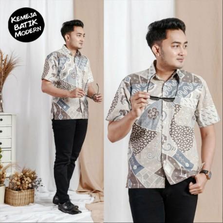 Hem Batik Katun Modern Saku Depan