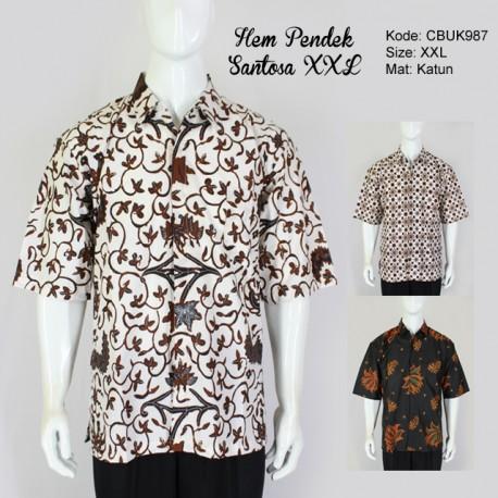 Hem Batik Pendek Santoso Klasik XXL