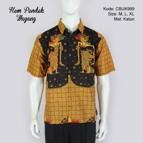 Hem Batik Pendek Motif Wayang
