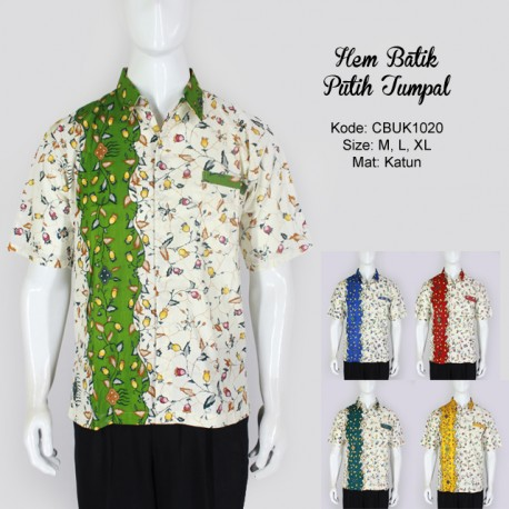 Hem Batik Cibulan Pendek Putih Tumpal