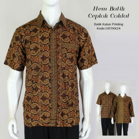 Hem Batik Printing Motif Klasik Coklat