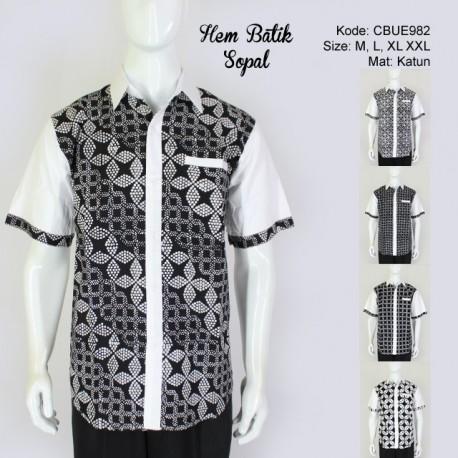 Hem Batik Sopal Pendek Hitam Putih