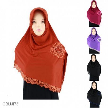Jilbab Belah Samping Renda Bunga