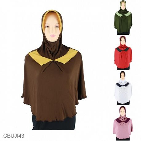 Jilbab Bergo Syari Kerah Kombinasi