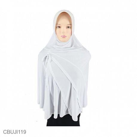 Jilbab Bergo Putih Lipit Tali Jumbo