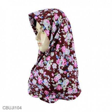 Jilbab Segi Empat Katun Ima Motif Bunga
