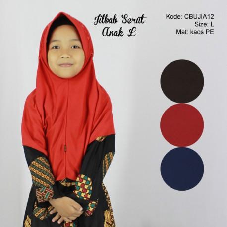 Jilbab Serut Polos Anak L
