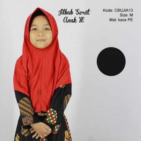 Jilbab Serut Polos Anak M
