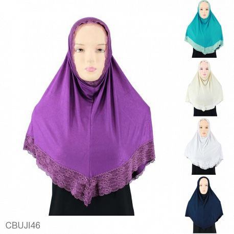 Jilbab Siria Kaos Non Pet Renda Double