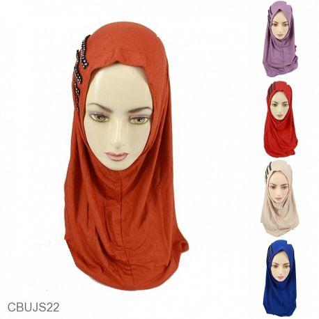 Jilbab Syria Permata Polos Spandek Warna