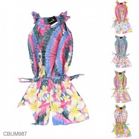 Jumpsuit Anak Motif Bunga Pelangi Size L