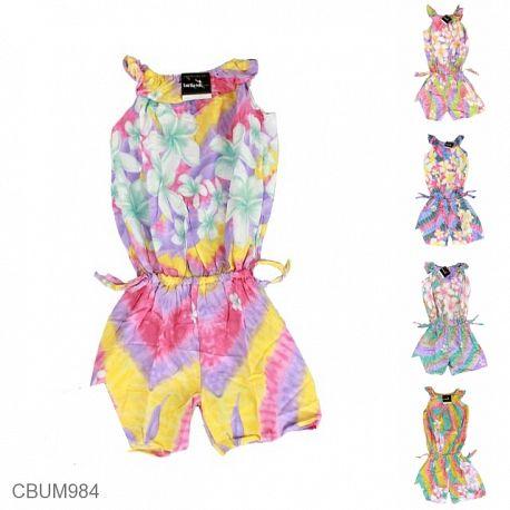 Jumpsuit Anak Motif Bunga Pelangi Size M