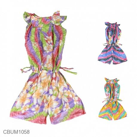 Jumpsuit Anak Motif Bunga Pelangi Size XL