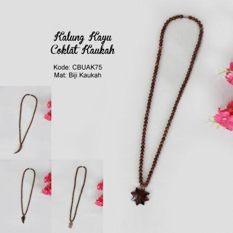 Kalung Kayu Coklat Bandul Kaukah/Kokka