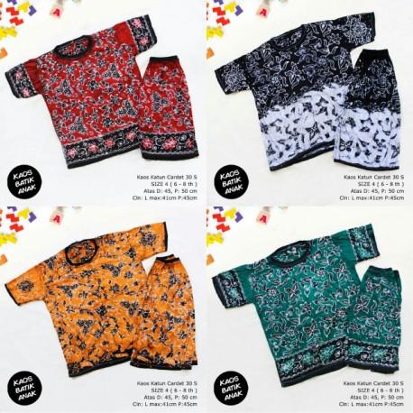 Kaos Setelan Celana Pendek Batik Anak Size 4