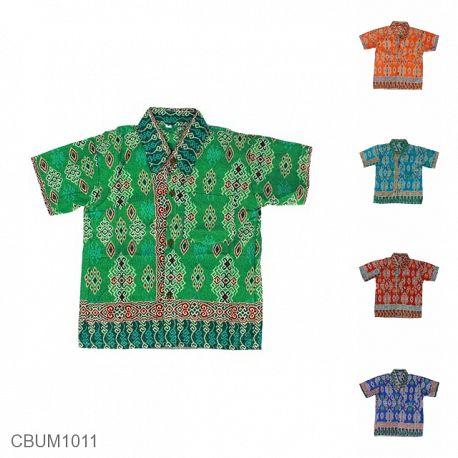 Kemeja Batik Anak Katun Motif Songket Cengkol