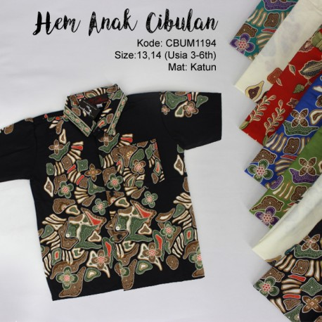 Kemeja Batik Anak Katun Cibulan