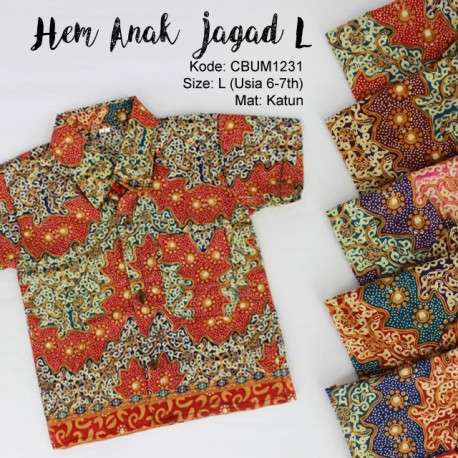 Kemeja Batik Anak Motif Jagad Size L