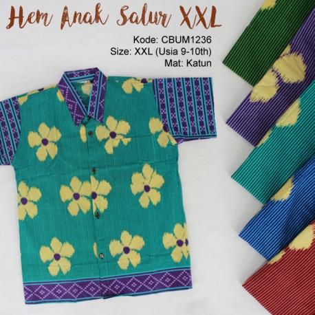Kemeja Batik Anak Motif Salur Bunga XXL