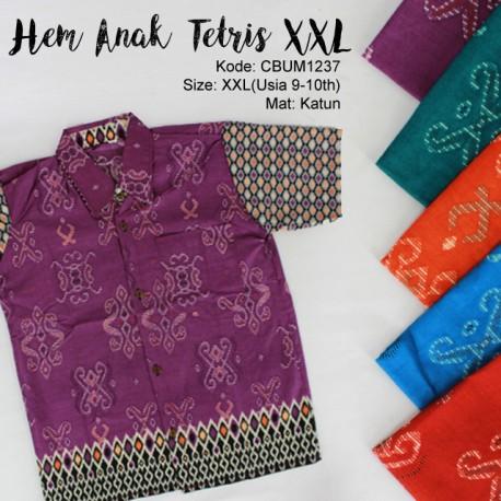 Kemeja Batik Anak Motif Tetris Size XXL