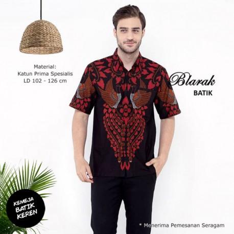 (Free Masker) Kemeja Batik Blarak Pendek Motif AHY 2 Merah